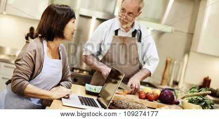 Couple Kitchen Cooking Food Leisure Digital Media Concept
