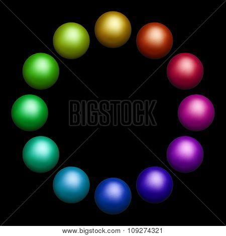 twelve colored balls