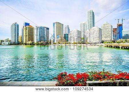 Cityscape Of Miami On A Sunny Day, Florida, Usa