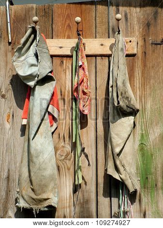 Old ragged cloths on old door