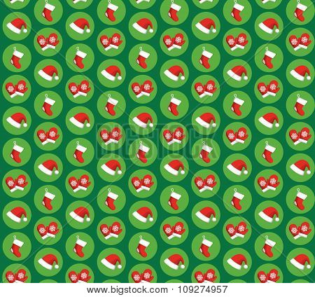 Seamless Pattern with Christmas Icons Gloves, Hats and Socks Iso