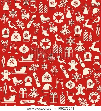 Seamless Winter Pattern with Christmas Icons Isolated on Red