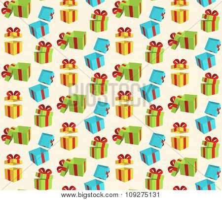 Seamless Pattern with Gift Boxes Isolated on Beige