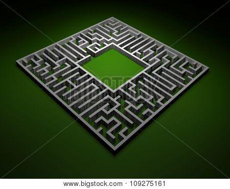 Labyrinth. 3D render of Labyrinth or maze. Puzzle concept.