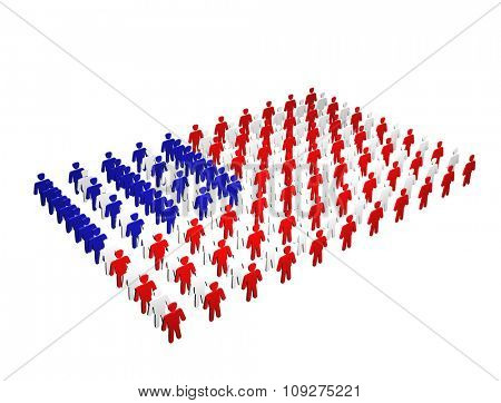 Flag of America. American people forming USA flag