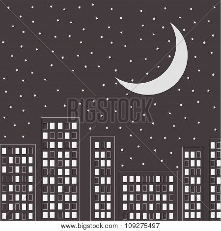 Silhouette Of The Night City. Stars And Moon In The Sky.
