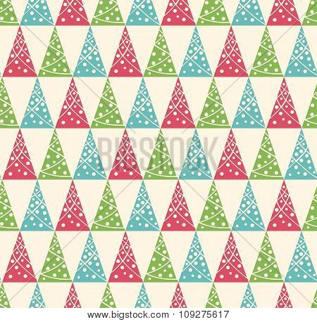 Seamless Winter Pattern with Stylized Decoration Christmas Trees