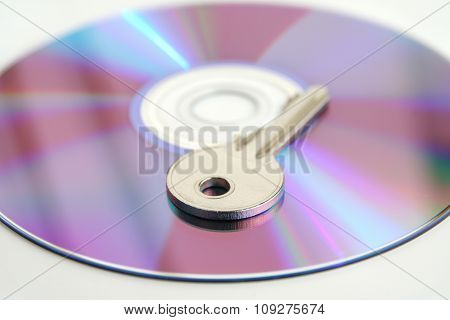 DVD - CD and a key, concept for data encryption and data security