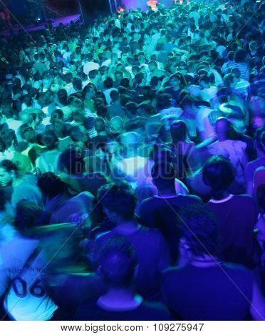 DJ music concert. Blur crowd people