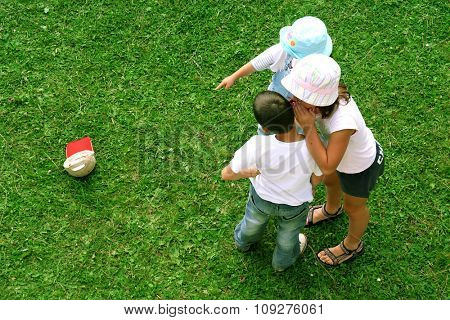 Kids having fun. Girl and boy friends playing. Children friends concept