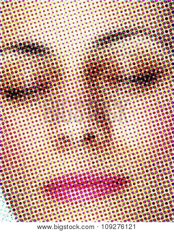 Rasterized abstract face. Print media effect. Woman face.