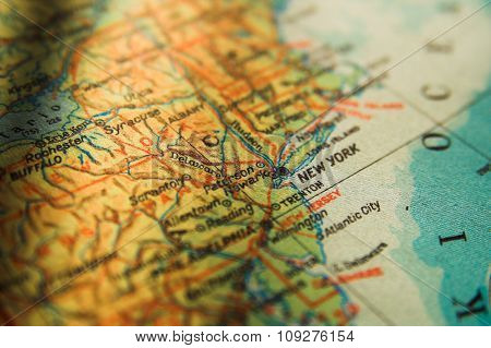 US map with New York in focus. New York City concept