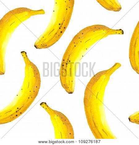 Hand-drawn watercolor of banana. Seamless nature background.