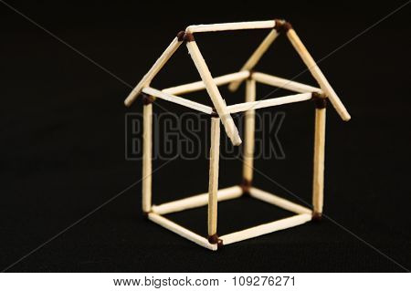 House construction of matches. Home concept
