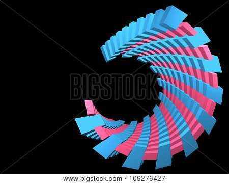 3D abstract tunnel shape. 3D space torsion