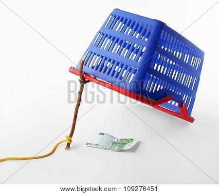 Isolated shopping bag trap. Shop or market basket ambush. Advertising and marketing concept