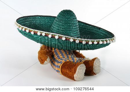 Teddy bear under the big mexican hat. Green Sombrero.