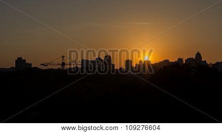 Panoramic Silhouette Of A Big City At Sunset. Kiev, Ukraine