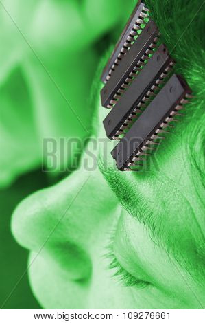 Computer chip brain in human. Artificial intelligence in micro chips. Alien Technology concept
