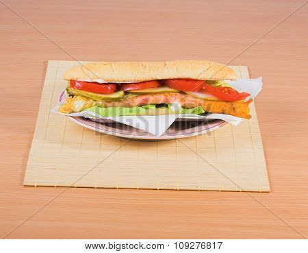 Tasty Fast food sandwich on plate. Junk food concept