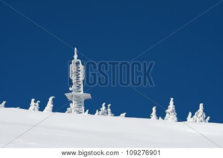 Communication Tower in ice and snow