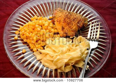 Served Chicken Egg Noodles and Corn