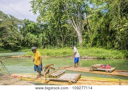 Bamboo Rafting On The Martha Brae River In Jamaica