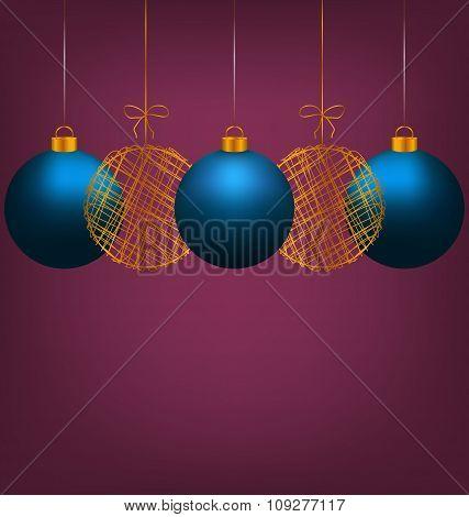 Christmas balls on violet