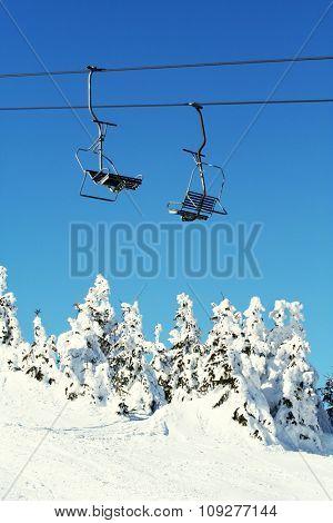 Cable car. Ski season concept. Winter sports