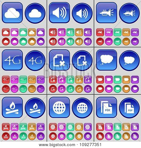 Cloud, Sound, Trumpet, 4G, File, Chat Cloud, Campfire, Globe, Pdf. A Large Set Of Multi-colored