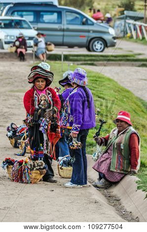 Old Ladies Selling Artifacts In Cusco, Peru