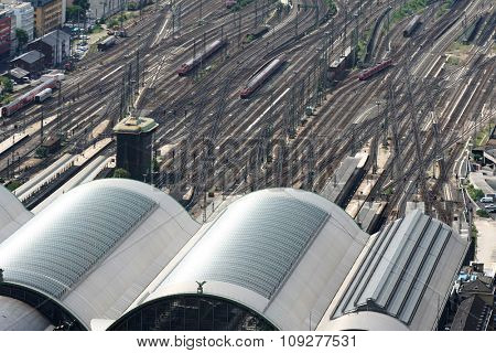 Main railway station with trains.City rail station from air