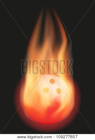 Bowling ball with flame
