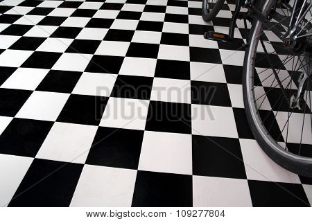 Bicycle close up and black and white floor