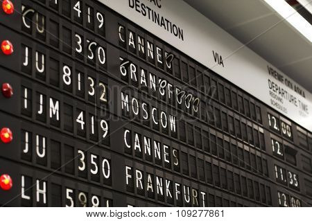 Airport departures and arrivals. Flight info board on airport concept