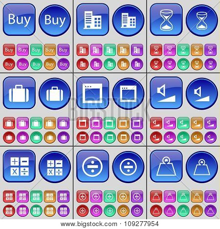 Buy, Building, Hourglass, Suitcase, Window, Volume, Calculator, Division, Weights. A Large Set Of