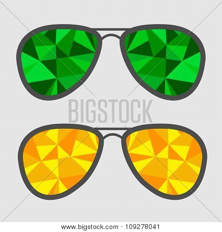 Set Of Glasses With Green And Yellow Abstract Triangles. Polygon