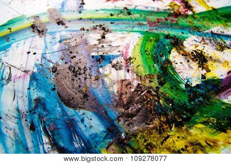 Print colors splashes. Vibrant paint on paper