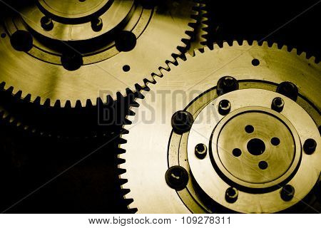 Industrial gears detail. Mechanic concept background