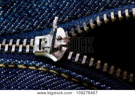 Zipper opened to half on jeans