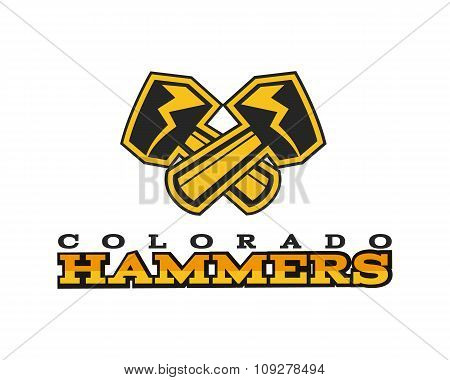 American football label. Hammer logo element innovative and creative inspiration for business compan