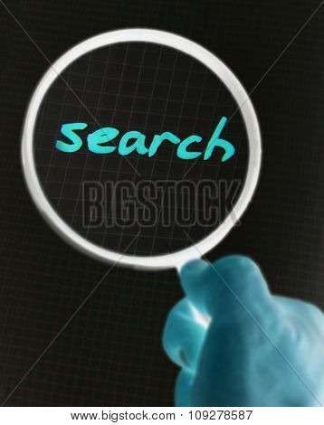 SEARCH on paper under magnifying glass. Hand writing font and internet concept