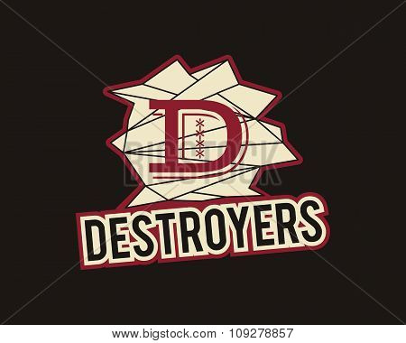 American football label. Destroyers logo element innovative and creative inspiration for sport team,