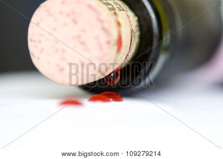 Neck of the bottle with Cork. Beverage concept