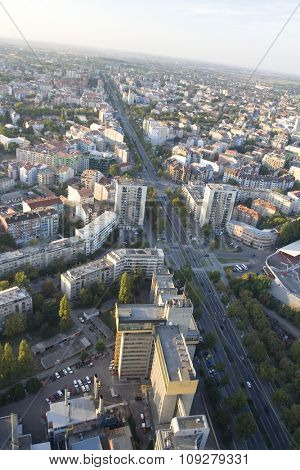 aerial view on small city from a balloon - Novi Sad