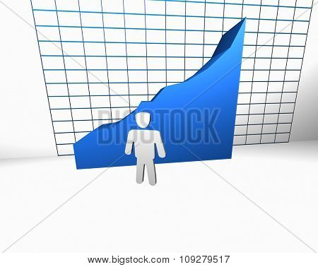 Statistic success and growth concept. Man in front of big 3d chart