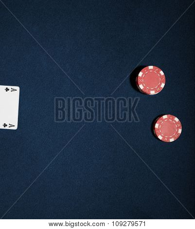 Casino chips on a blue background. Vegas poker concept