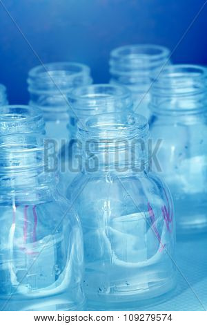 Laboratory equipment. Small empty lab bottles