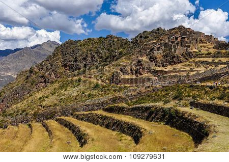 Pisac Fortress From Below In The Sacred Valley, Peru