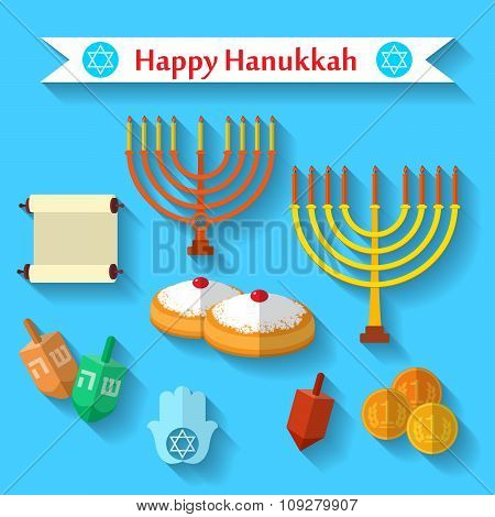 Happy Hanukkah Flat Vector Icons Set With Dreidel Game, Coins, Hand Of Miriam, Palm Of David, Star O